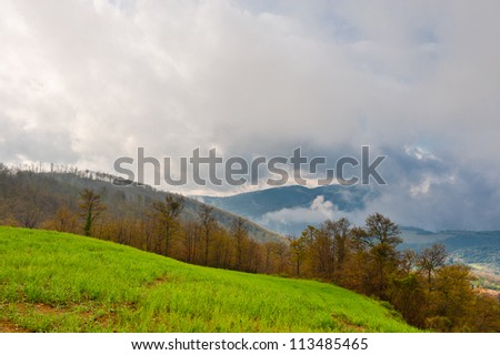 Foggy Morning in the Apennines- Umbrian Landscape - stock photo