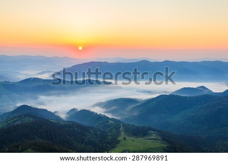 Foggy morning in the Carpathian mountains - stock photo