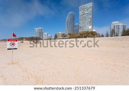 Foggy morning on Australian beach (Gold Coast, Broadbeach, QLD, Australia) - stock photo
