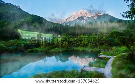 Foggy morning on Sava spring, Zelenci, Slovenia  - stock photo