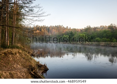 foggy morning on the river in forest with reflections and trees on both sides of the stream