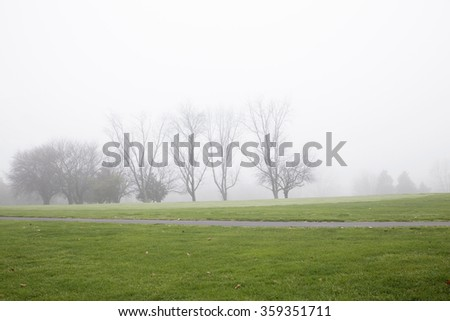 Foggy morning. Tree naked trees on Empty golf course in herndon Virginia. Washington DC - stock photo