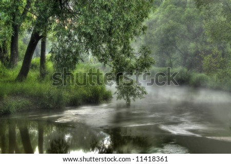 Foggy morning washing in the river - stock photo