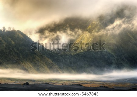 foggy mountain at bromo, indonesia - stock photo