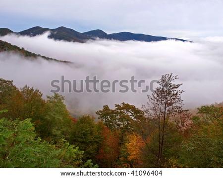 foggy mountains - stock photo