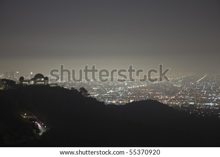 Foggy night in the hills above Hollywood, California. - stock photo