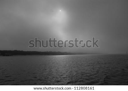 foggy river - stock photo