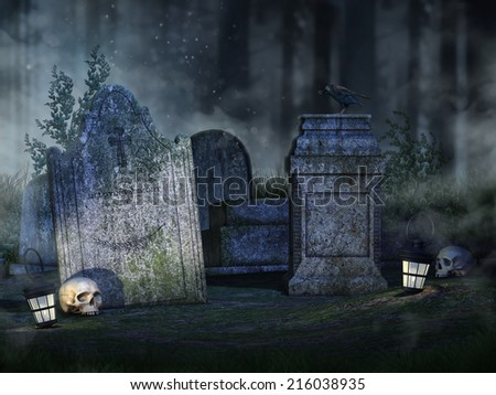 Foggy scenery with old tombstones, skulls and lanterns in a forest