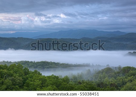 Foggy summer landscape at dawn from the West Foothills Parkway of the Great Smoky Mountains, Tennessee, USA