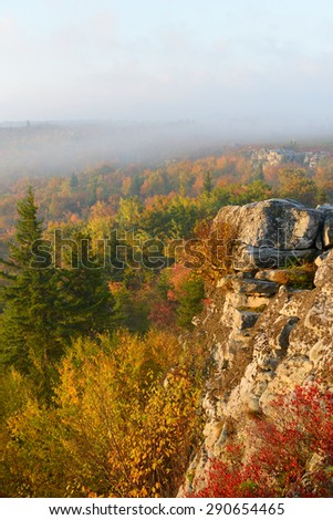 Foggy Sunrise in Fall at Bear Rocks, WV - stock photo