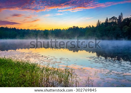 Foggy sunrise over forest lake - stock photo