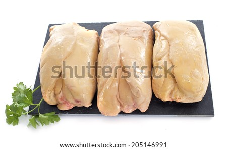 foie gras in front of white background - stock photo