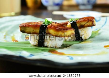 Foie gras nigiri, japanese sushi food style - stock photo