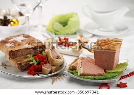 Foie gras pate with apple slices / goose liver pate/ French cuisine  - stock photo