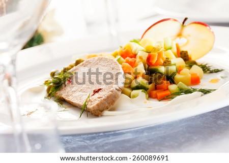 Foie gras pate with salad - stock photo
