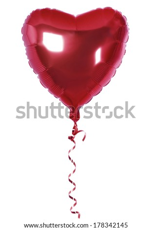 foil balloon of Bright red heart  - stock photo