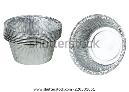 Foil cups for bakery cake isolated on white background with clipping path - stock photo