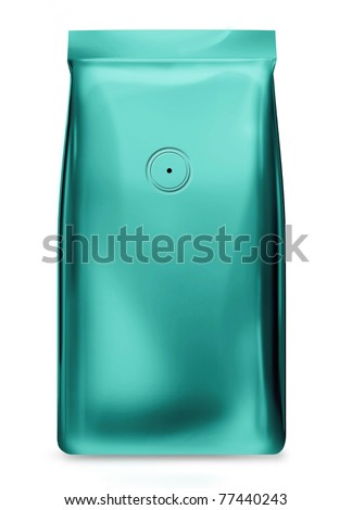 foil package bag turquoise blue color with value isolated on white background - stock photo
