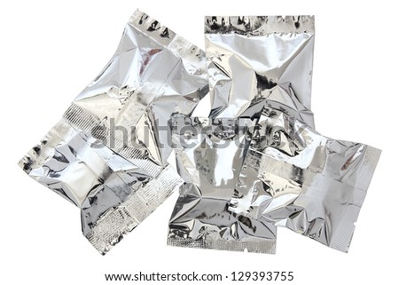 Foil package isolated on white background with clipping path - stock photo