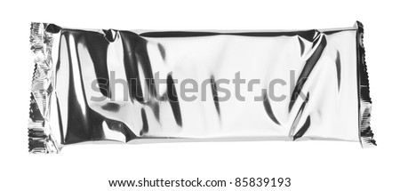Foil package isolated white background
