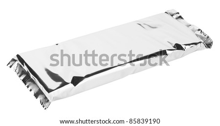 Foil package with isolated white background - stock photo