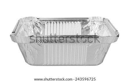 foil trays for food isolated on a white background  - stock photo
