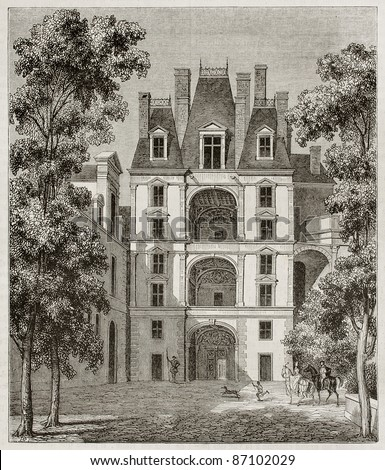 Fointainebleau castle: pavilion of the golden door, France. By unidentified author, published on Magasin Pittoresque, Paris, 1843 - stock photo