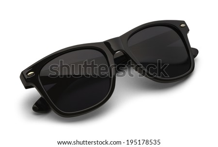 Folded Black Sunglasses Isolated on White Background with Clipping Path. - stock photo