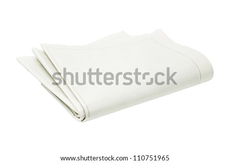 Folded Blank Newspaper on White Background - stock photo
