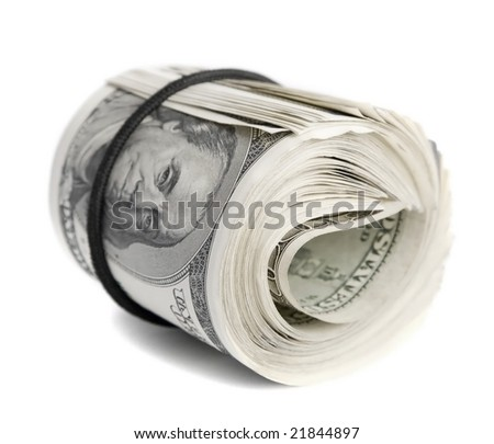 Folded bunch of one hundred American dollar bills isolated on white background - stock photo