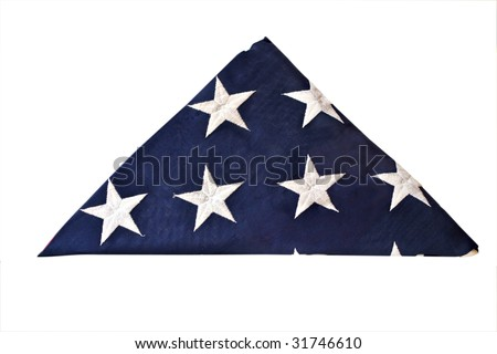 Folded flag of the United States isolated with clipping path - stock photo