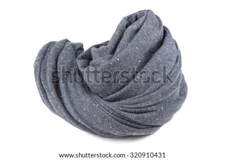 Folded Gray Neck Scarf Isolated on White Background - stock photo