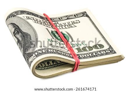 folded hundred dollar bills isolated on white - stock photo