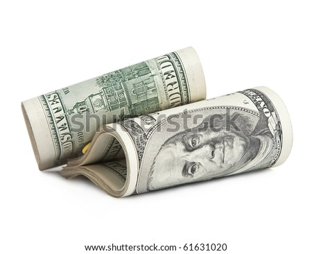 folded hundred-dollar bills, isolated on white . - stock photo