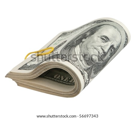 folded hundred-dollar bills ,isolated on white with clipping path. - stock photo