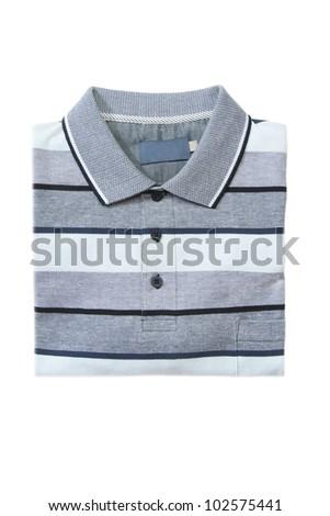 Folded man polo shirt on white isolated - stock photo
