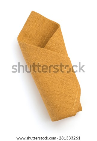 folded napkin isolated on white background - stock photo