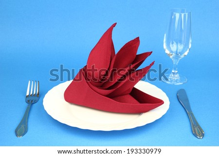 Folded napkin on the white plate