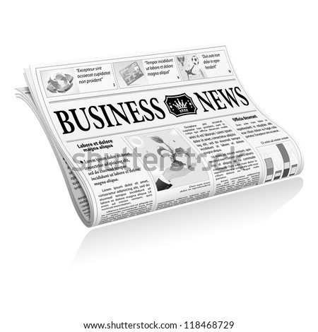 Folded Newspaper Business News with Articles and Graph, isolated on white background