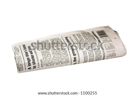 Folded Newspaper  (with clipping path) - stock photo
