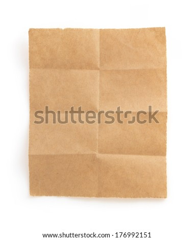 folded note paper isolated on white background