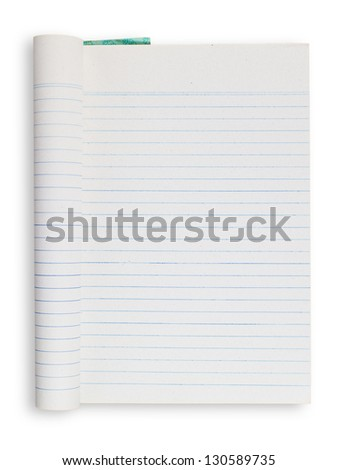 Folded notebook, blue striped lines, isolated on white background - stock photo