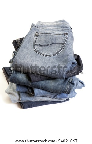 Folded Old Blue Jeans - stock photo