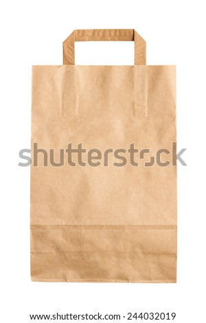 Folded paper bag isolated on white background - stock photo