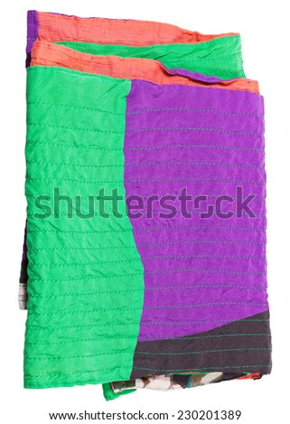 folded patchwork scarf isolated on white background