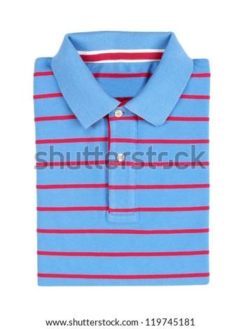 folded polo shirt isolated on white background - stock photo