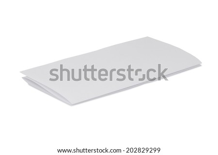 Folded sheet of white paper isolated on white background