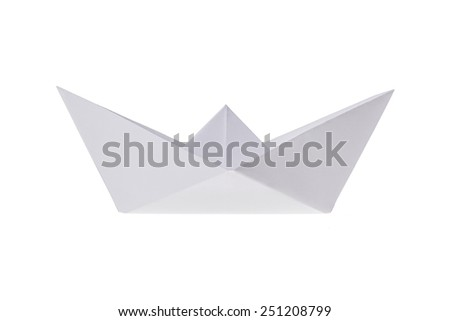 Folded ship, made out of paper on a white background.