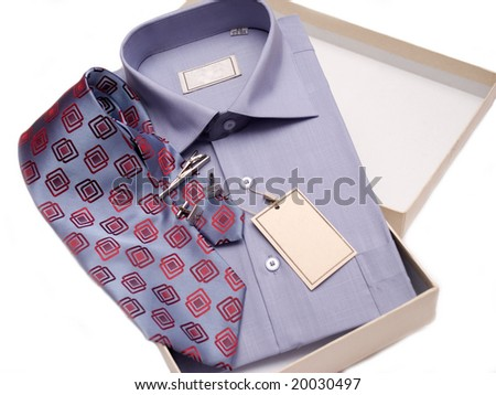 Folded Shirt and Tie. Business accessories - stock photo