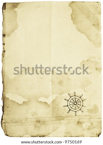 Folded stained patched with sticky tape vintage paper with steering-wheel symbol in corner. Conceptual sea paper background, isolated with clipping paths - stock photo